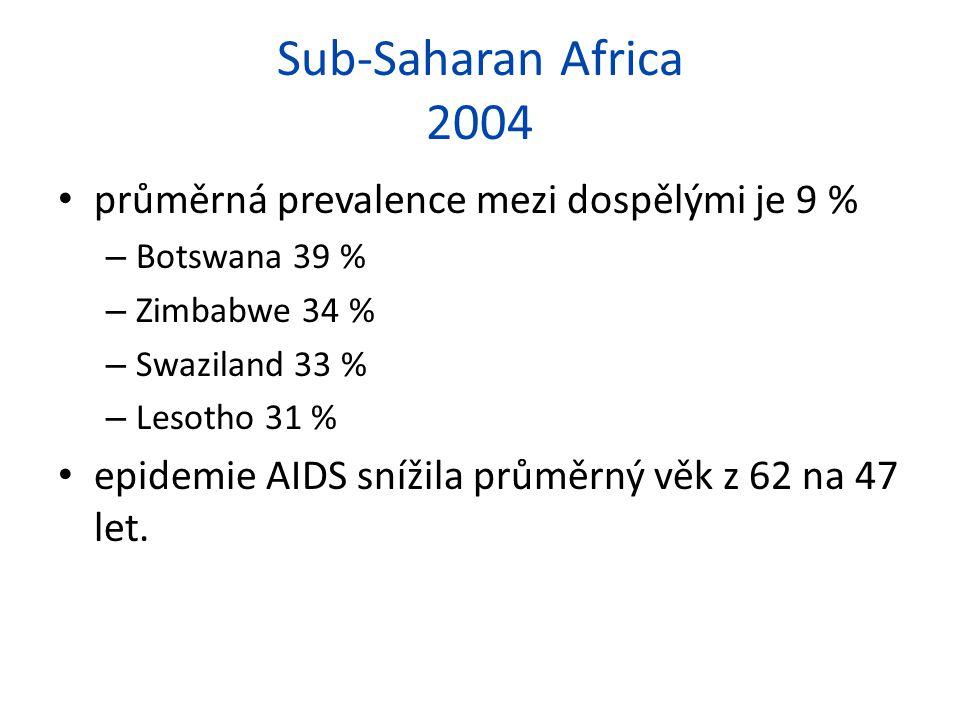 Sub-Saharan Africa 2004 průměrná prevalence mezi dospělými je 9 % – Botswana 39 % – Zimbabwe 34 % – Swaziland 33 % – Lesotho 31 % epidemie AIDS snížil