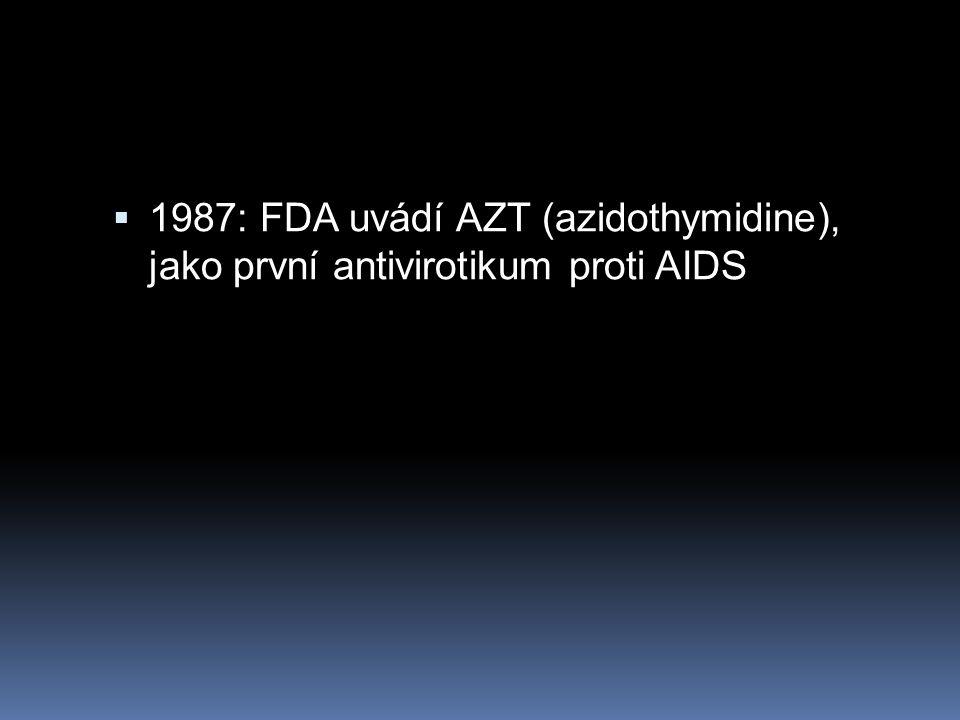  1987: FDA uvádí AZT (azidothymidine), jako první antivirotikum proti AIDS
