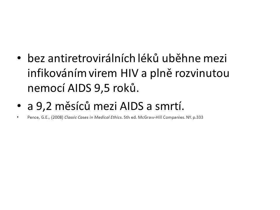 bez antiretrovirálních léků uběhne mezi infikováním virem HIV a plně rozvinutou nemocí AIDS 9,5 roků. a 9,2 měsíců mezi AIDS a smrtí. Pence, G.E., (20