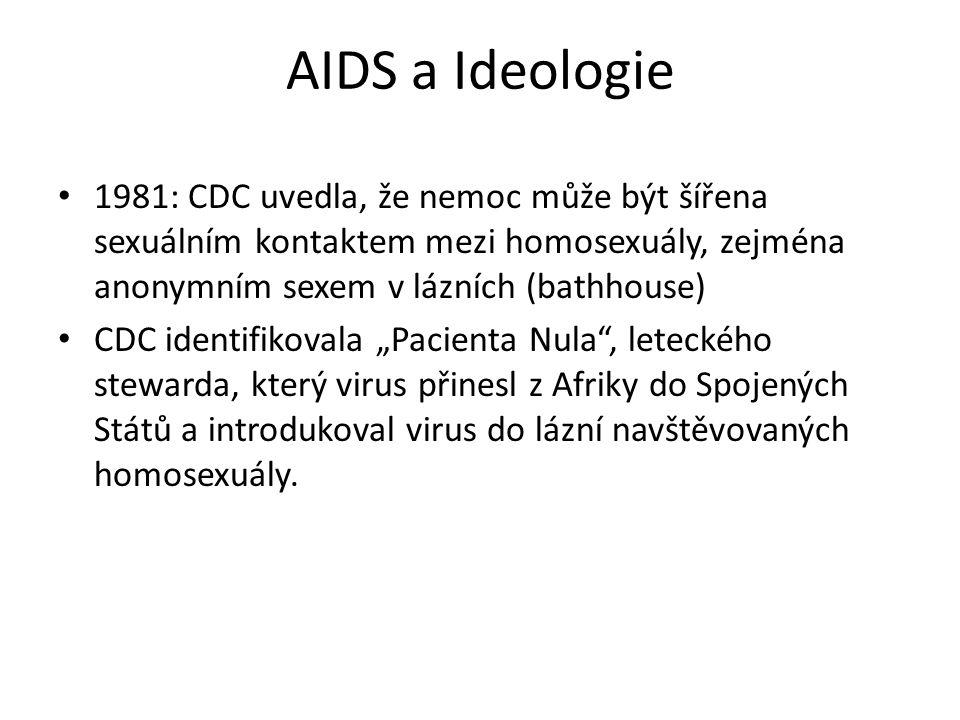 """1981: CDC uvedla, že nemoc může být šířena sexuálním kontaktem mezi homosexuály, zejména anonymním sexem v lázních (bathhouse) CDC identifikovala """"Pac"""