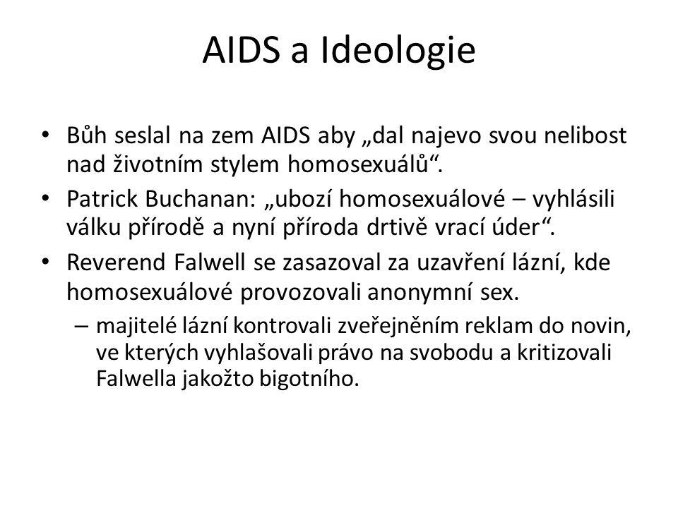 """AIDS a Ideologie Bůh seslal na zem AIDS aby """"dal najevo svou nelibost nad životním stylem homosexuálů"""". Patrick Buchanan: """"ubozí homosexuálové – vyhlá"""