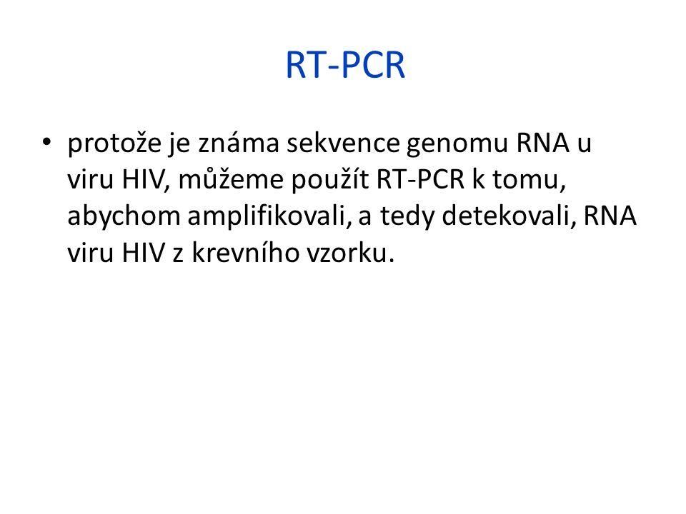 RT-PCR protože je známa sekvence genomu RNA u viru HIV, můžeme použít RT-PCR k tomu, abychom amplifikovali, a tedy detekovali, RNA viru HIV z krevního