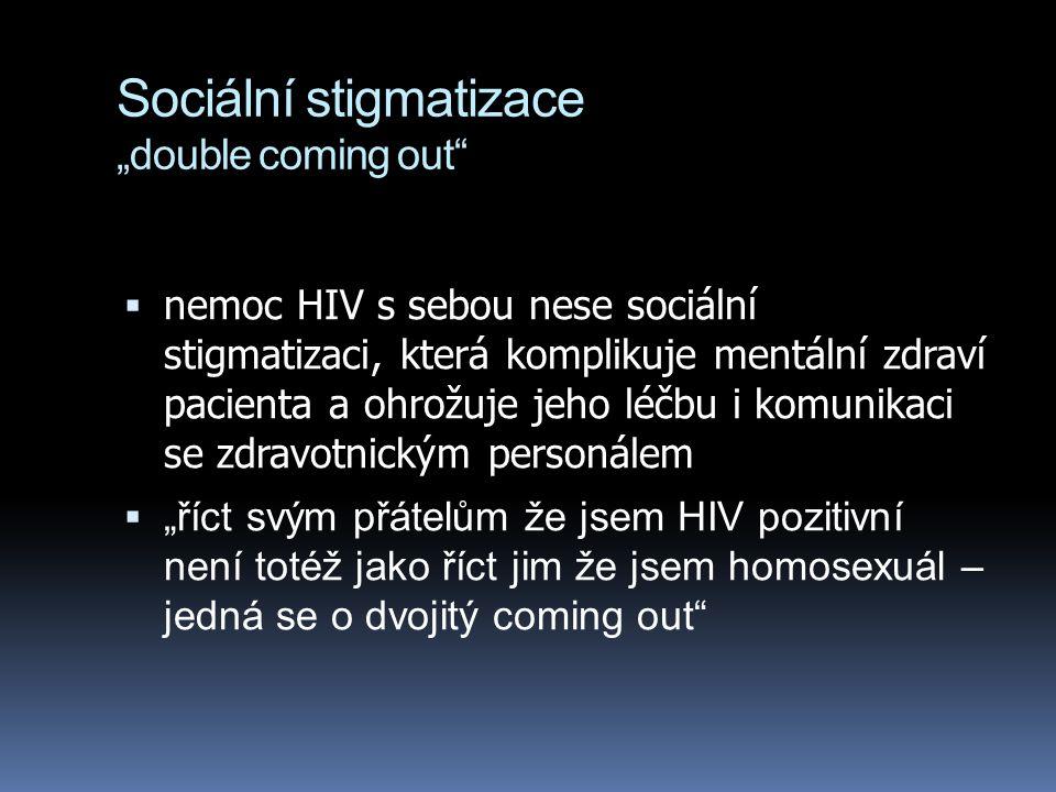 """Sociální stigmatizace """"double coming out""""  nemoc HIV s sebou nese sociální stigmatizaci, která komplikuje mentální zdraví pacienta a ohrožuje jeho lé"""