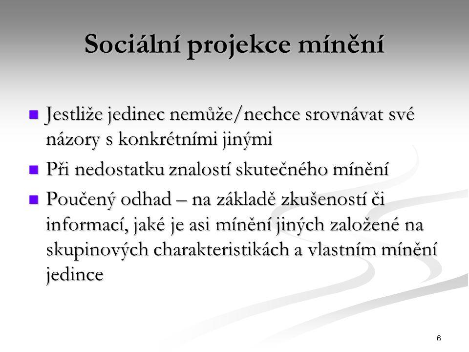 7 Koncepty sociální projekce mínění 1.Zrcadlové vnímání 2.