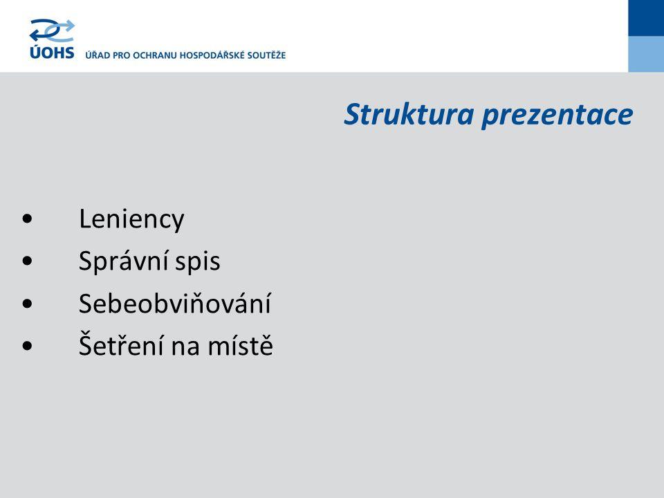 Struktura prezentace Leniency Správní spis Sebeobviňování Šetření na místě