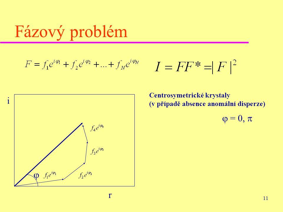 11 Fázový problém i r  Centrosymetrické krystaly (v případě absence anomální disperze)  = 0, 