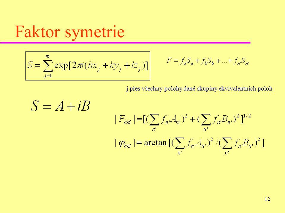 12 Faktor symetrie j přes všechny polohy dané skupiny ekvivalentních poloh