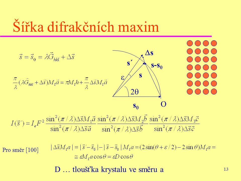 13 Šířka difrakčních maxim O s0s0 s 22 s´ s-s 0  ss Pro směr [100] D … tloušťka krystalu ve směru a