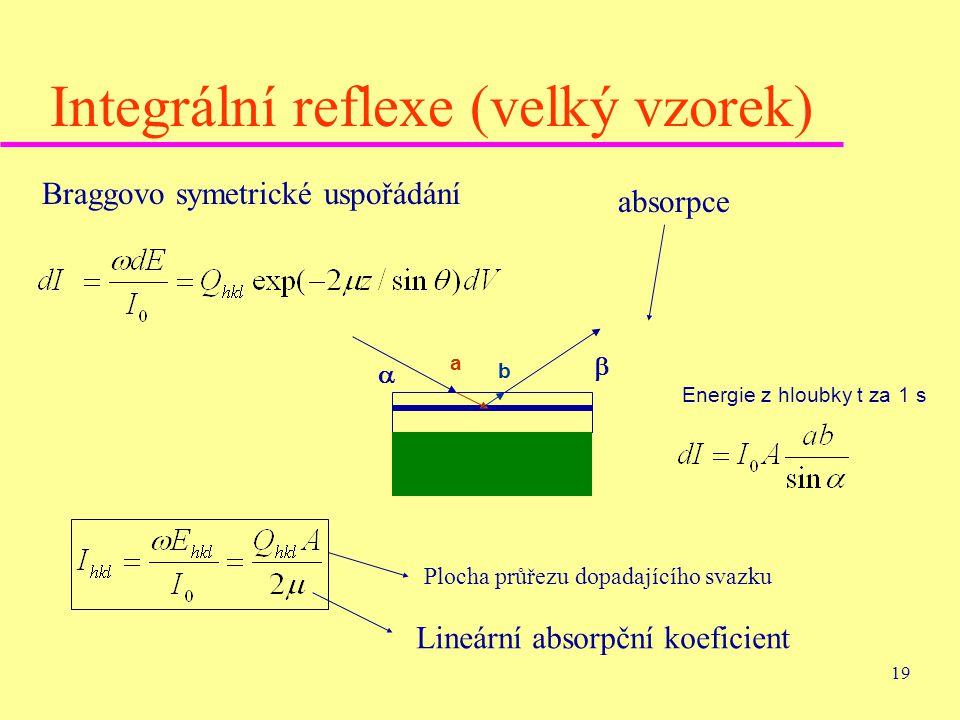 19 Integrální reflexe (velký vzorek) Braggovo symetrické uspořádání absorpce   Energie z hloubky t za 1 s a b Plocha průřezu dopadajícího svazku Lin