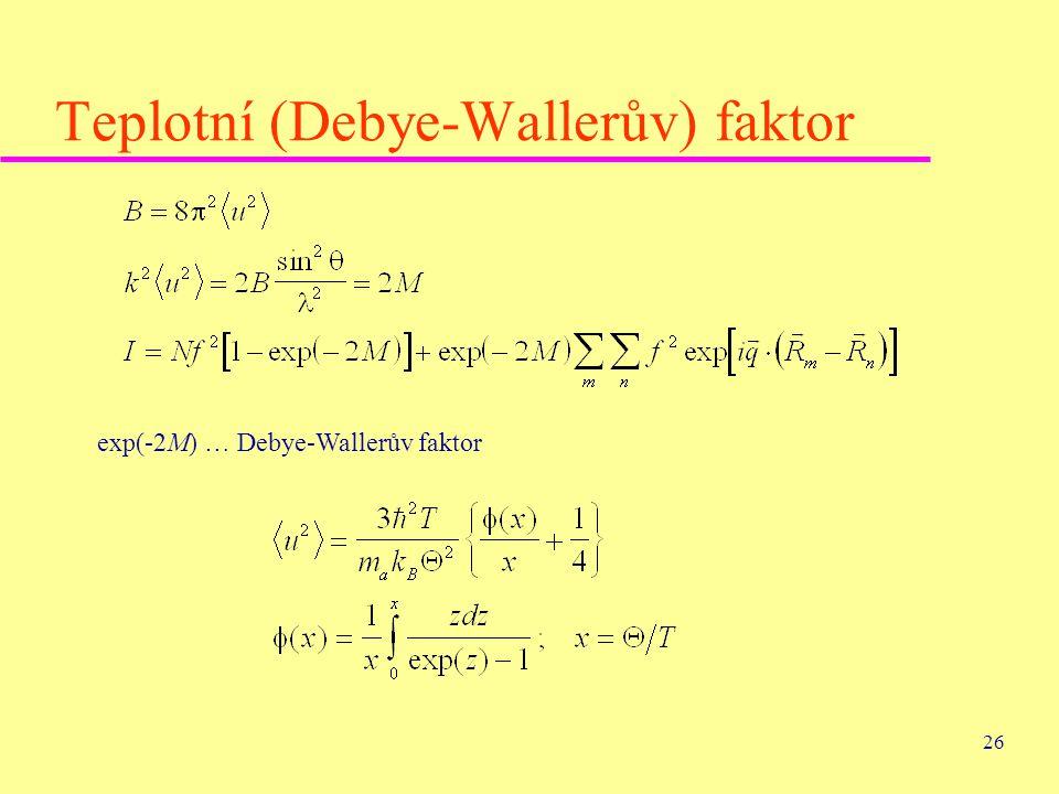 26 Teplotní (Debye-Wallerův) faktor exp(-2M) … Debye-Wallerův faktor