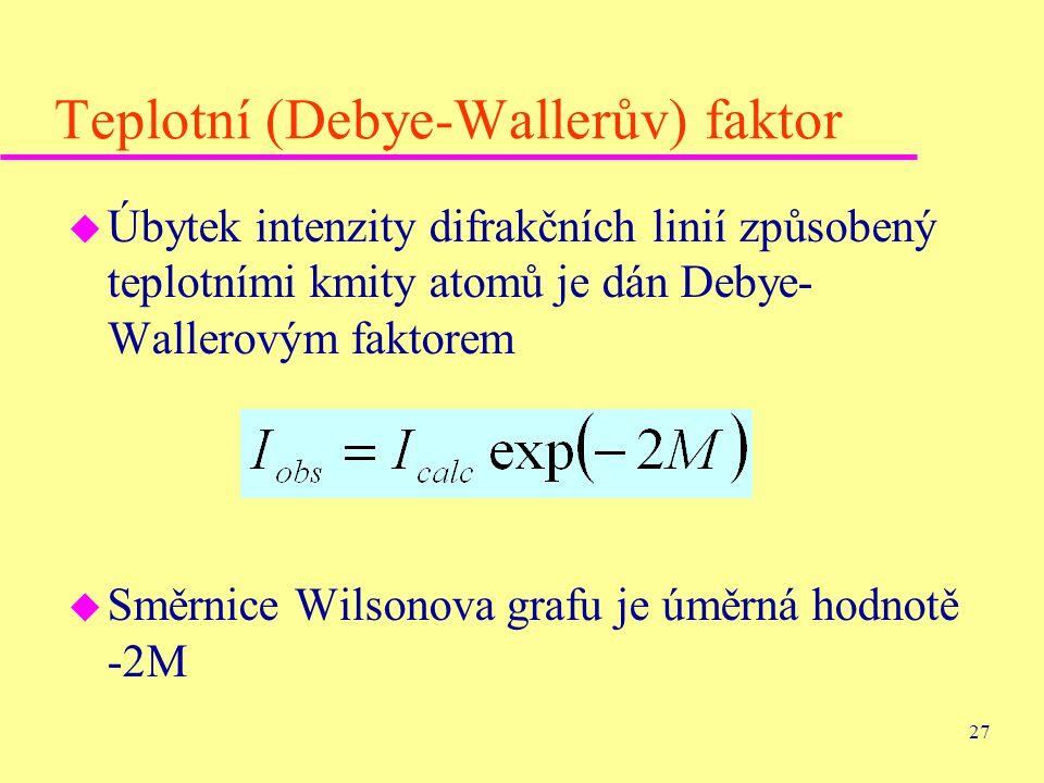 27 Teplotní (Debye-Wallerův) faktor u Úbytek intenzity difrakčních linií způsobený teplotními kmity atomů je dán Debye- Wallerovým faktorem u Směrnice