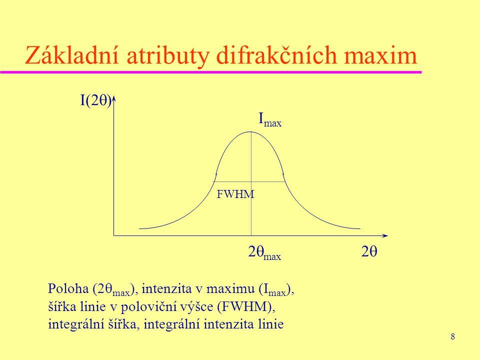 8 Základní atributy difrakčních maxim I(2  ) 22 2  max I max FWHM Poloha (2  max ), intenzita v maximu (I max ), šířka linie v poloviční výšce (F