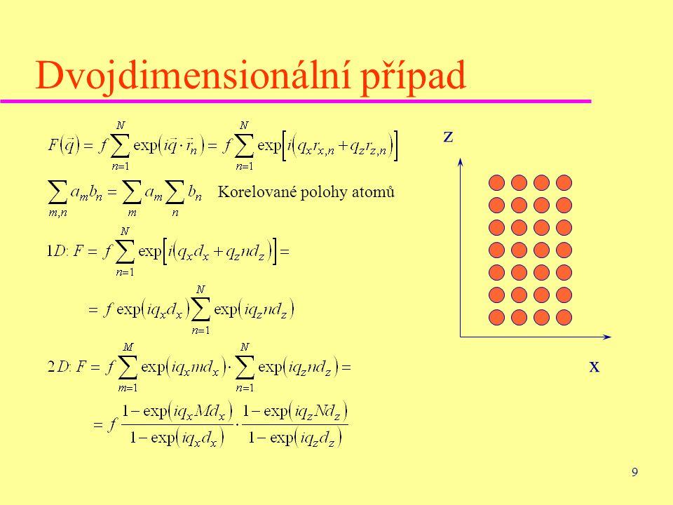 9 Dvojdimensionální případ Korelované polohy atomů x z