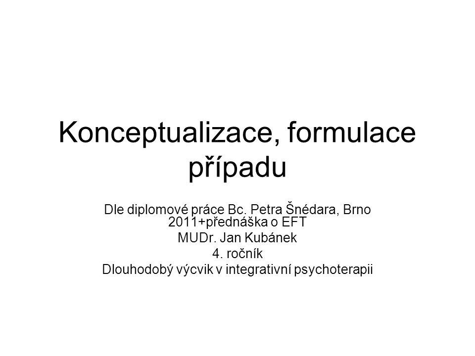 Konceptualizace, formulace případu Dle diplomové práce Bc. Petra Šnédara, Brno 2011+přednáška o EFT MUDr. Jan Kubánek 4. ročník Dlouhodobý výcvik v in