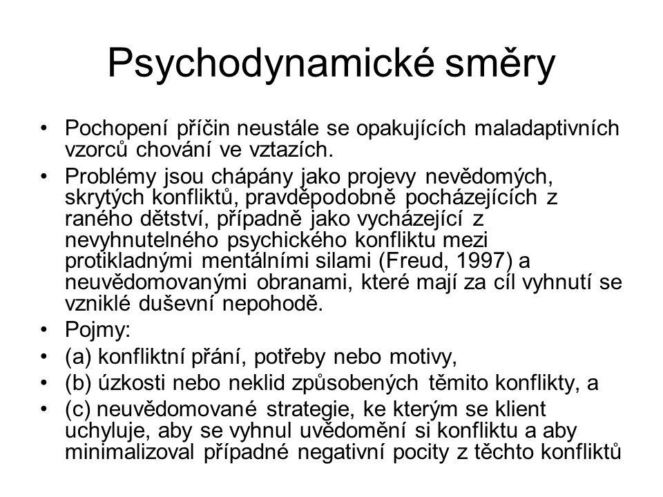 Psychodynamické směry Pochopení příčin neustále se opakujících maladaptivních vzorců chování ve vztazích. Problémy jsou chápány jako projevy nevědomýc
