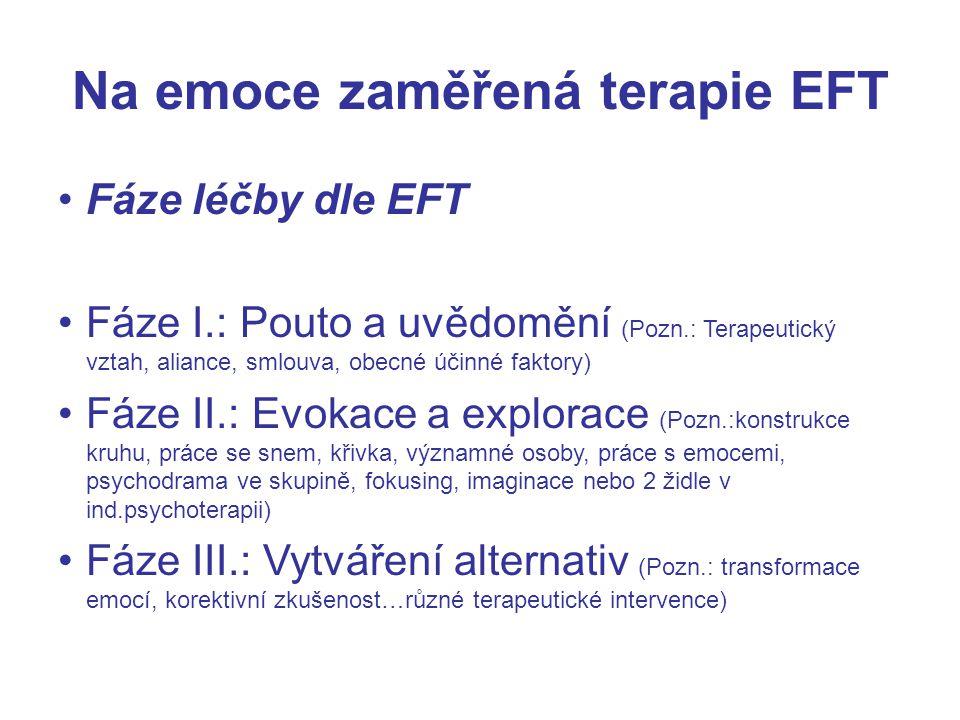 Na emoce zaměřená terapie EFT Fáze léčby dle EFT Fáze I.: Pouto a uvědomění (Pozn.: Terapeutický vztah, aliance, smlouva, obecné účinné faktory) Fáze