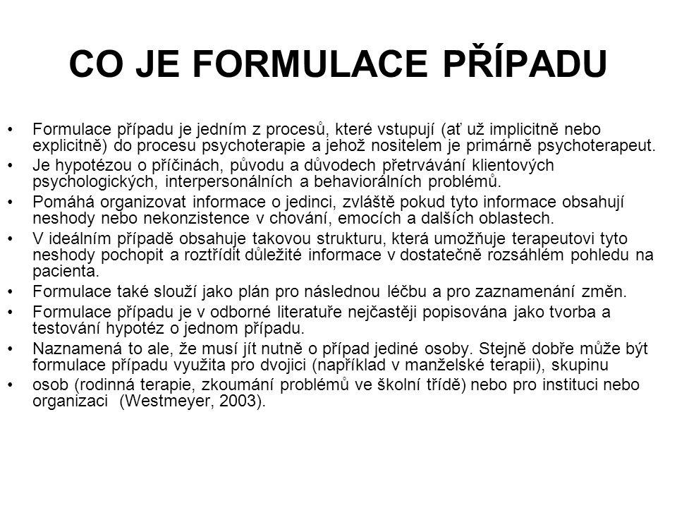 Formulace případu se skládá: 3 komponenty Diagnostická formulace Klinická formulace Formulace postupu