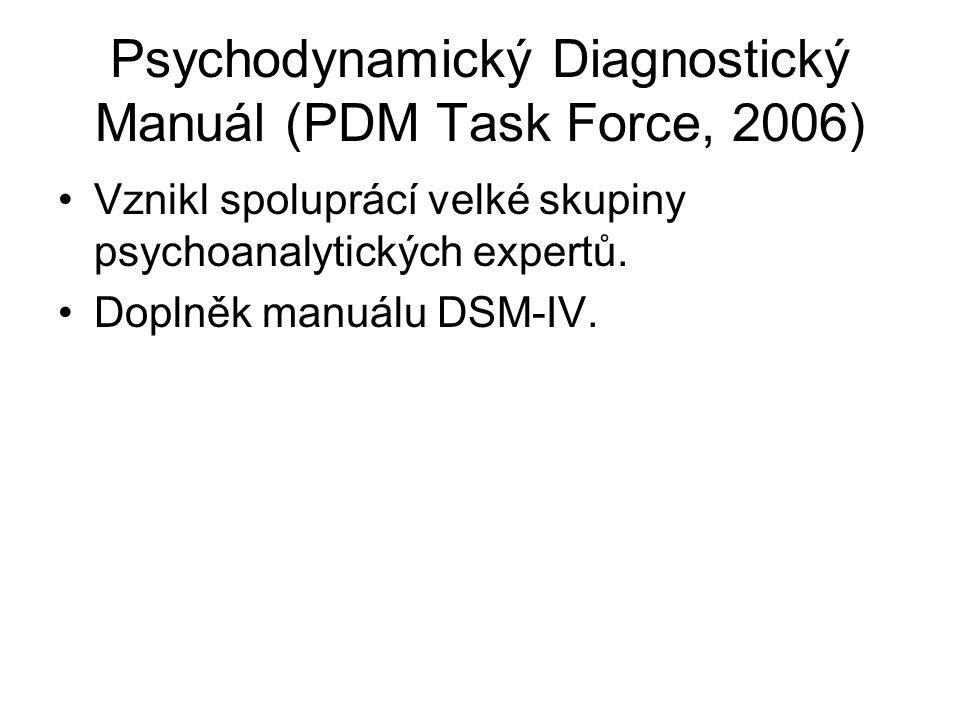 Psychodynamický Diagnostický Manuál (PDM Task Force, 2006) Vznikl spoluprácí velké skupiny psychoanalytických expertů. Doplněk manuálu DSM-IV.