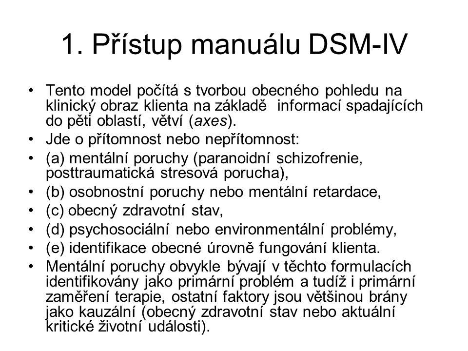 1. Přístup manuálu DSM-IV Tento model počítá s tvorbou obecného pohledu na klinický obraz klienta na základě informací spadajících do pěti oblastí, vě