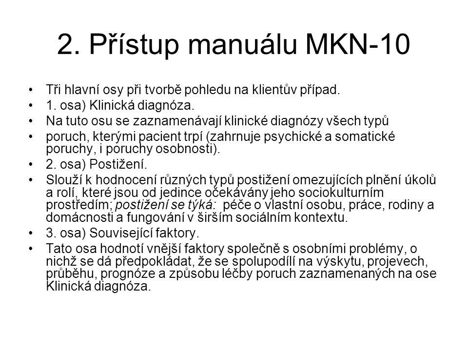 2. Přístup manuálu MKN-10 Tři hlavní osy při tvorbě pohledu na klientův případ. 1. osa) Klinická diagnóza. Na tuto osu se zaznamenávají klinické diagn