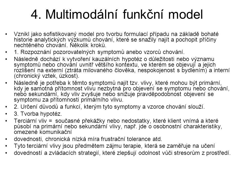 4. Multimodální funkční model Vznikl jako sofistikovaný model pro tvorbu formulací případu na základě bohaté historie analytických výzkumů chování, kt