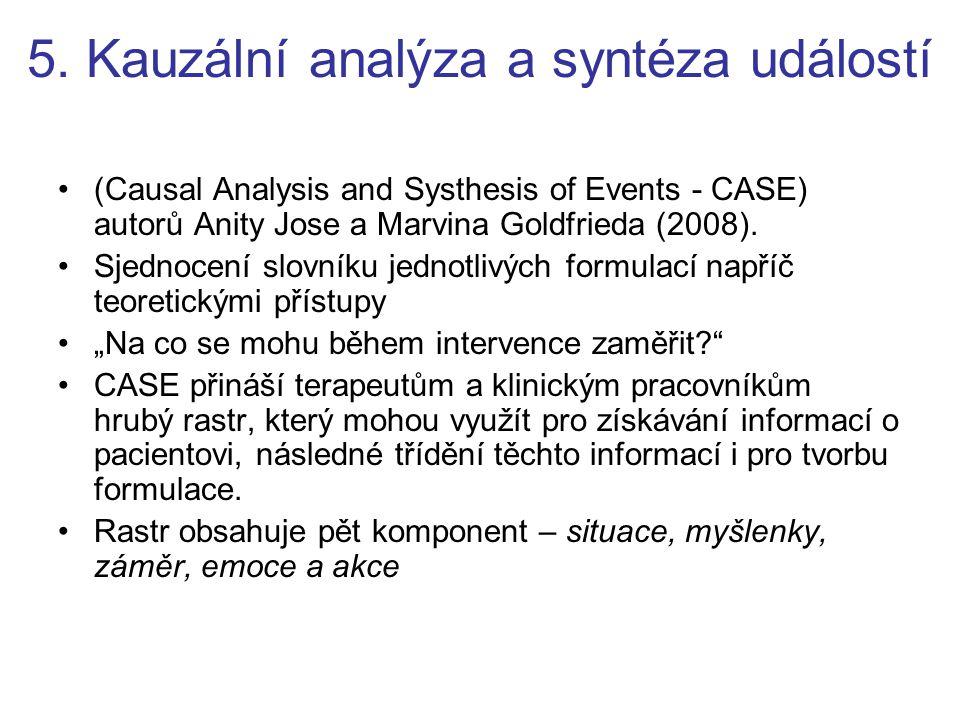 5. Kauzální analýza a syntéza událostí (Causal Analysis and Systhesis of Events - CASE) autorů Anity Jose a Marvina Goldfrieda (2008). Sjednocení slov