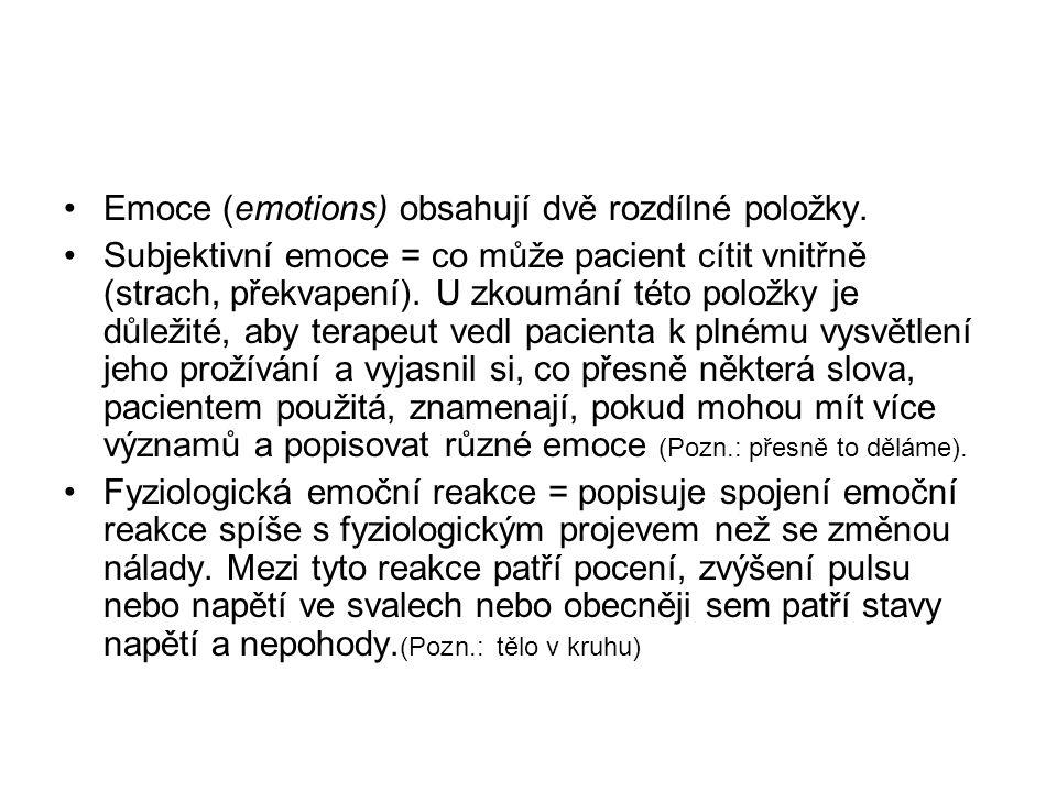 Emoce (emotions) obsahují dvě rozdílné položky. Subjektivní emoce = co může pacient cítit vnitřně (strach, překvapení). U zkoumání této položky je důl