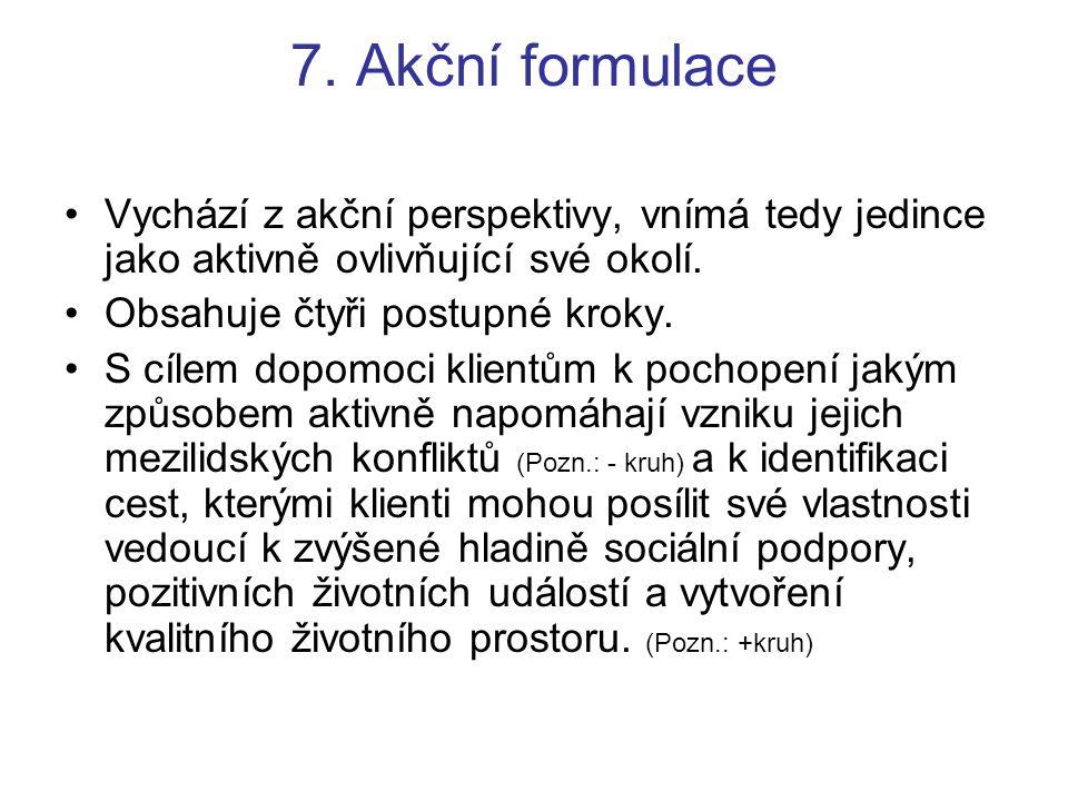 7. Akční formulace Vychází z akční perspektivy, vnímá tedy jedince jako aktivně ovlivňující své okolí. Obsahuje čtyři postupné kroky. S cílem dopomoci
