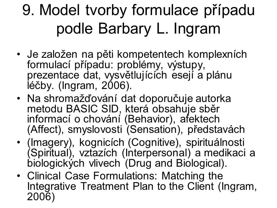 9. Model tvorby formulace případu podle Barbary L. Ingram Je založen na pěti kompetentech komplexních formulací případu: problémy, výstupy, prezentace