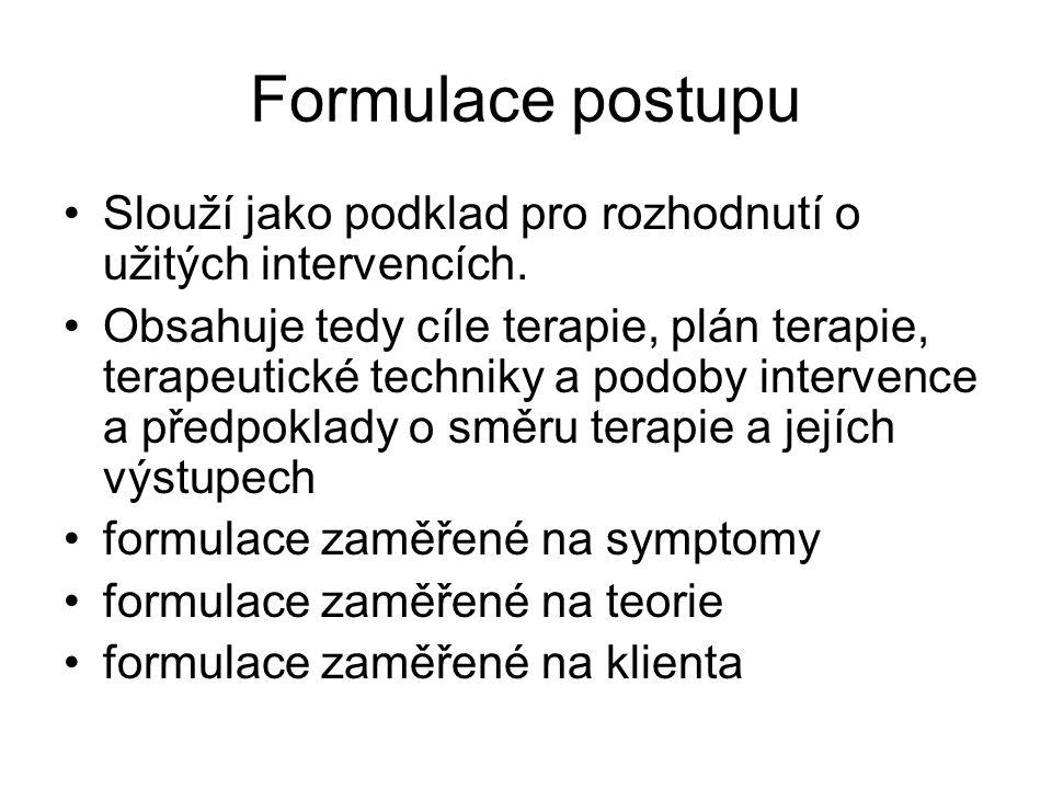 formulace zaměřené na symptomy Vychází z medicínských a behaviorálních modelů lidského chování a je nejčastěji používaným typem na klinických pracovištích.