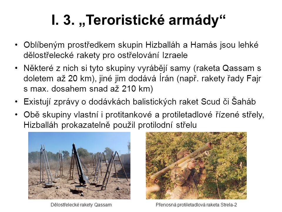 """I. 3. """"Teroristické armády"""" Oblíbeným prostředkem skupin Hizballáh a Hamás jsou lehké dělostřelecké rakety pro ostřelování Izraele Některé z nich si t"""
