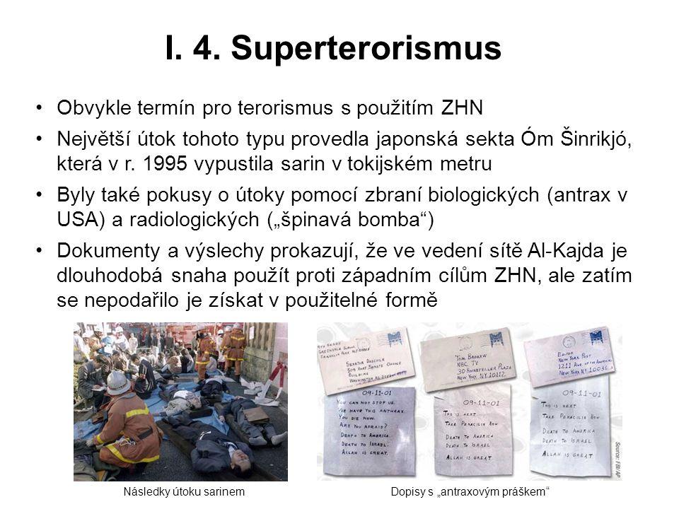 I. 4. Superterorismus Obvykle termín pro terorismus s použitím ZHN Největší útok tohoto typu provedla japonská sekta Óm Šinrikjó, která v r. 1995 vypu