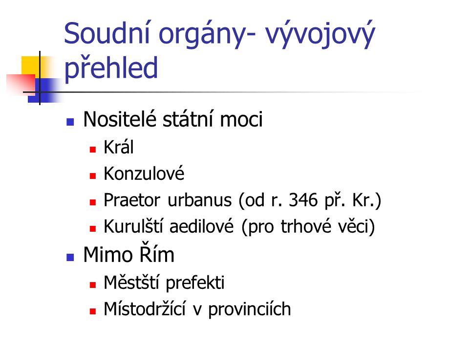 Soudní orgány- vývojový přehled Nositelé státní moci Král Konzulové Praetor urbanus (od r.