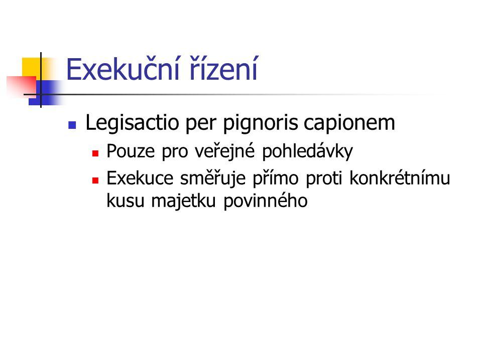 Exekuční řízení Legisactio per pignoris capionem Pouze pro veřejné pohledávky Exekuce směřuje přímo proti konkrétnímu kusu majetku povinného