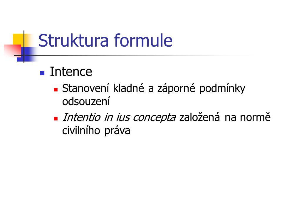Struktura formule Intence Stanovení kladné a záporné podmínky odsouzení Intentio in ius concepta založená na normě civilního práva