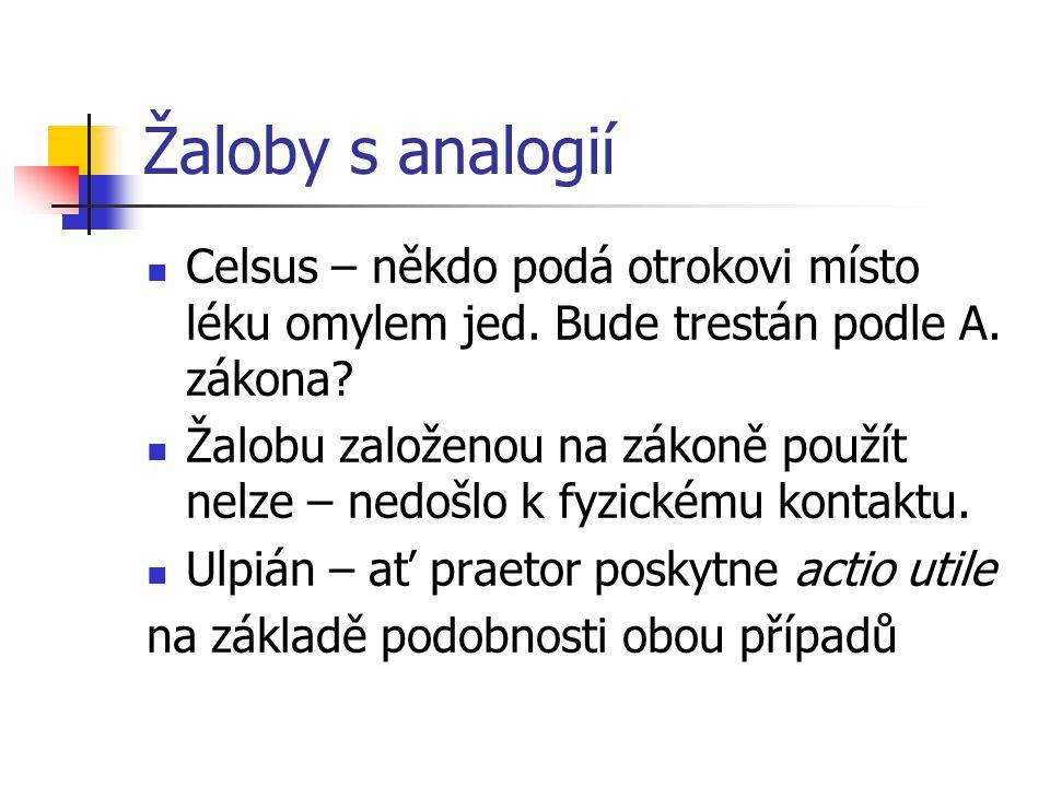 Žaloby s analogií Celsus – někdo podá otrokovi místo léku omylem jed.