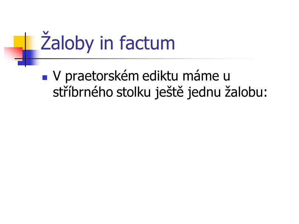 Žaloby in factum V praetorském ediktu máme u stříbrného stolku ještě jednu žalobu: