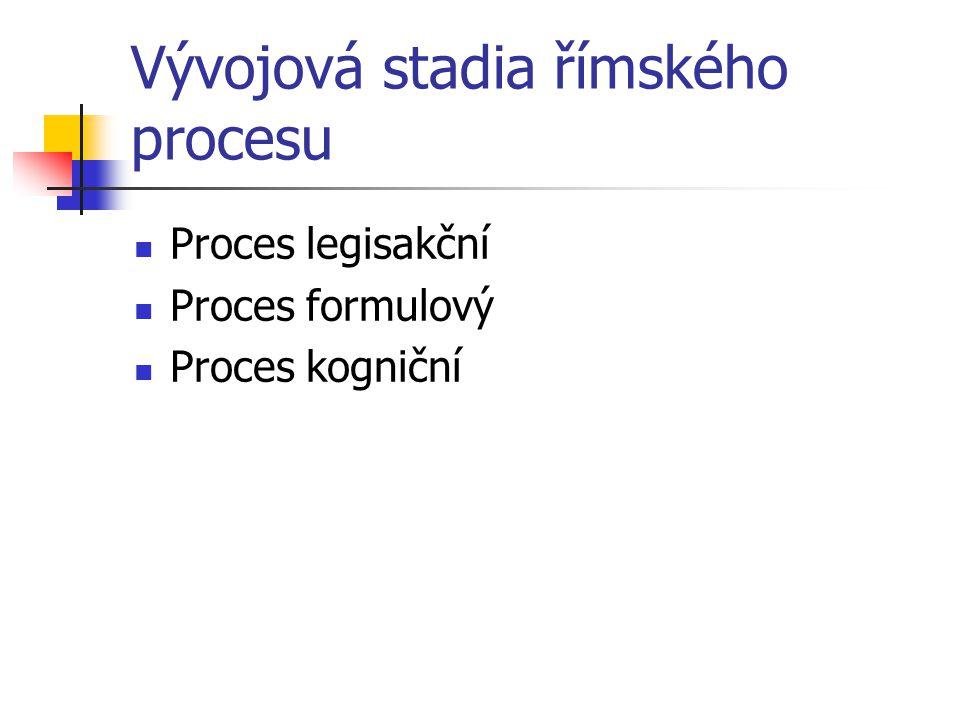 Vývojová stadia římského procesu Proces legisakční Proces formulový Proces kogniční