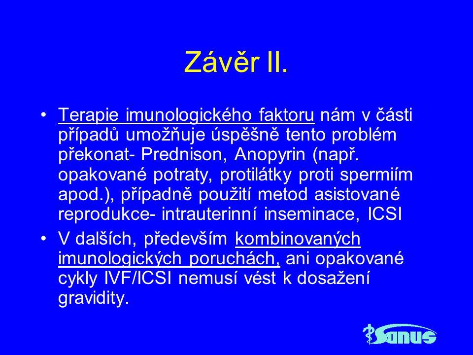Závěr II. Terapie imunologického faktoru nám v části případů umožňuje úspěšně tento problém překonat- Prednison, Anopyrin (např. opakované potraty, pr