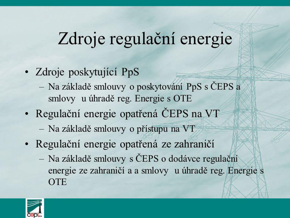 Zdroje regulační energie Zdroje poskytující PpS –Na základě smlouvy o poskytování PpS s ČEPS a smlovy u úhradě reg. Energie s OTE Regulační energie op