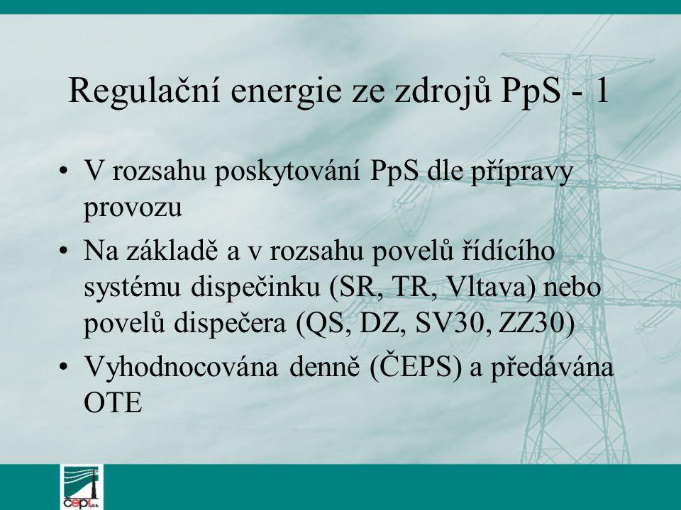 Regulační energie ze zdrojů PpS - 1 V rozsahu poskytování PpS dle přípravy provozu Na základě a v rozsahu povelů řídícího systému dispečinku (SR, TR,