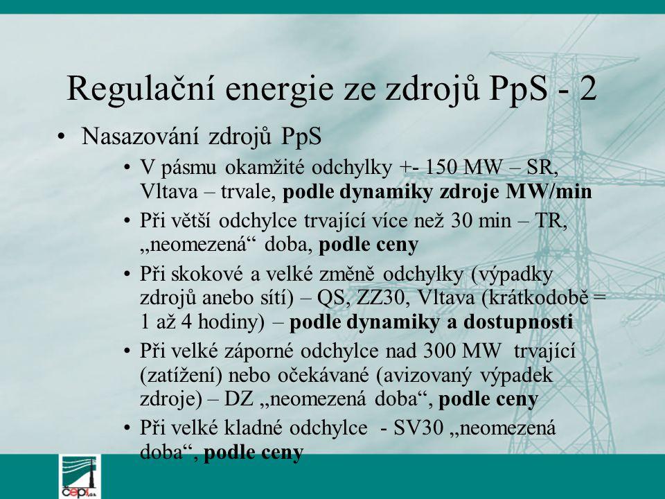 Regulační energie ze zdrojů PpS - 2 Nasazování zdrojů PpS V pásmu okamžité odchylky +- 150 MW – SR, Vltava – trvale, podle dynamiky zdroje MW/min Při