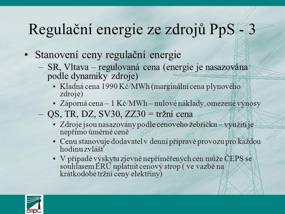 Regulační energie ze zdrojů PpS - 3 Stanovení ceny regulační energie –SR, Vltava – regulovaná cena (energie je nasazována podle dynamiky zdroje) Kladn