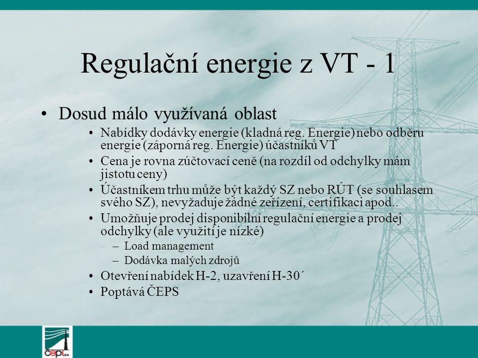 Regulační energie z VT - 1 Dosud málo využívaná oblast Nabídky dodávky energie (kladná reg. Energie) nebo odběru energie (záporná reg. Energie) účastn