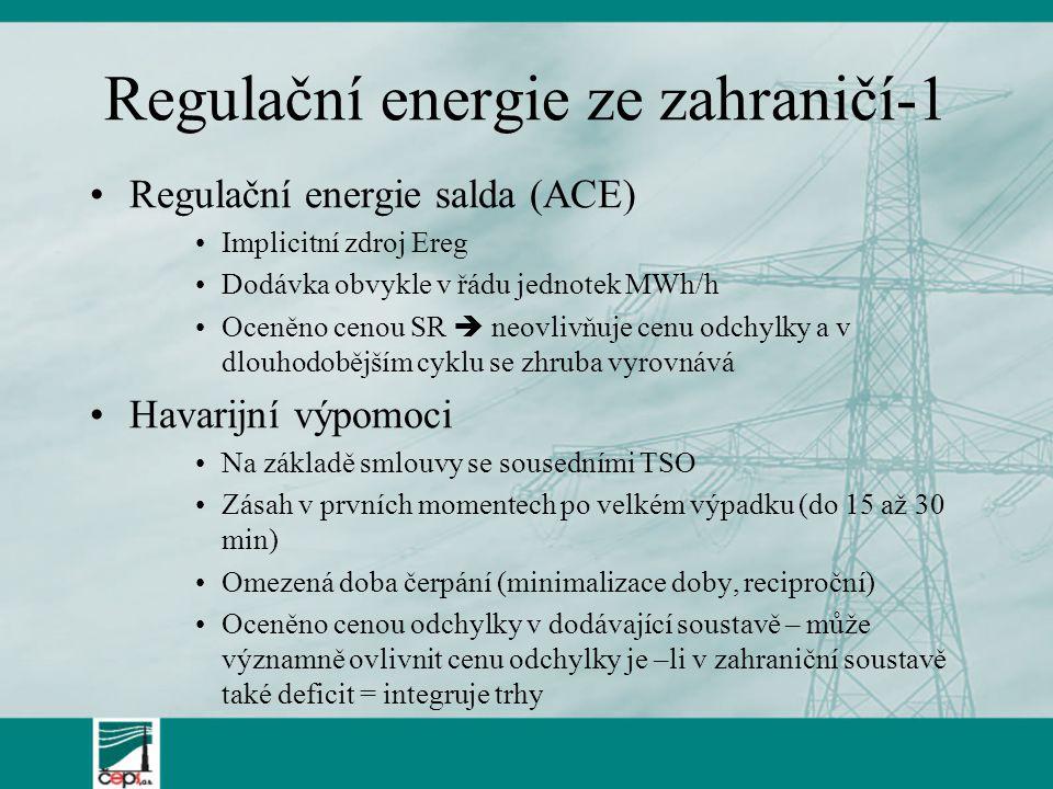Regulační energie ze zahraničí-1 Regulační energie salda (ACE) Implicitní zdroj Ereg Dodávka obvykle v řádu jednotek MWh/h Oceněno cenou SR  neovlivň