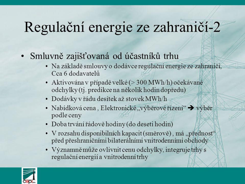 Regulační energie ze zahraničí-2 Smluvně zajišťovaná od účastníků trhu Na základě smlouvy o dodávce regulační energie ze zahraničí, Cca 6 dodavatelů A