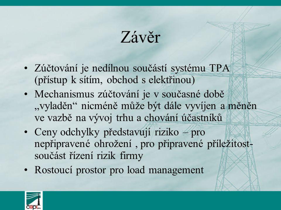 """Závěr Zúčtování je nedílnou součástí systému TPA (přístup k sítím, obchod s elektřinou) Mechanismus zúčtování je v současné době """"vyladěn"""" nicméně můž"""