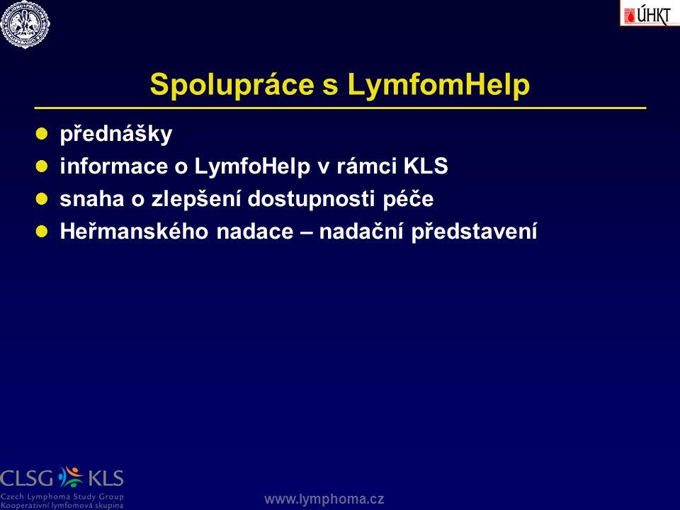 www.lymphoma.cz Spolupráce s LymfomHelp přednášky informace o LymfoHelp v rámci KLS snaha o zlepšení dostupnosti péče Heřmanského nadace – nadační pře