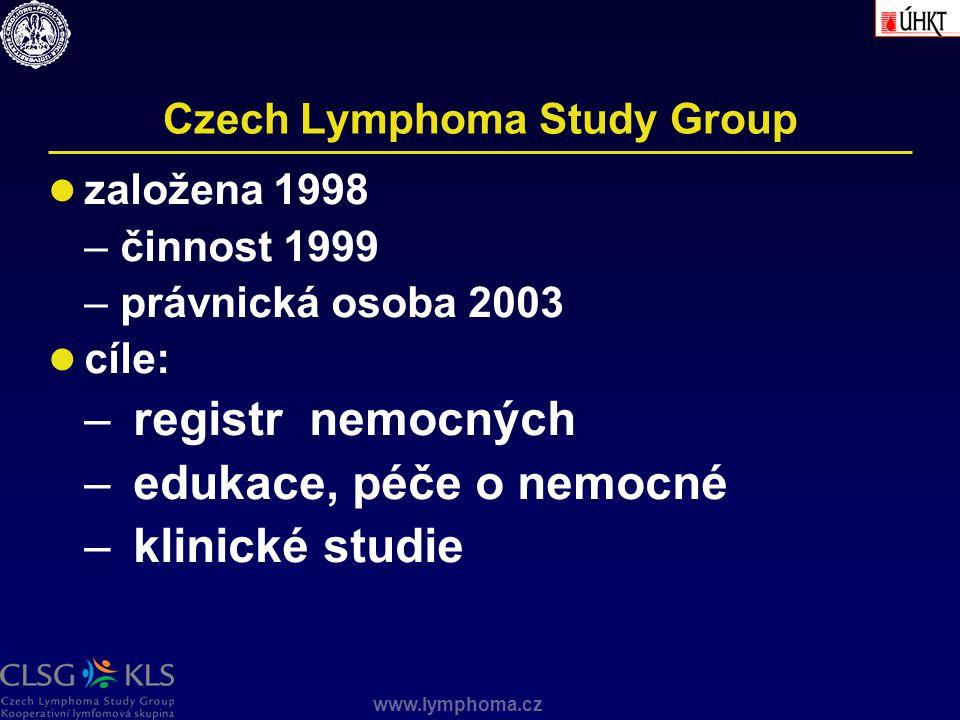 www.lymphoma.cz Czech Lymphoma Study Group založena 1998 –činnost 1999 –právnická osoba 2003 cíle: – registr nemocných – edukace, péče o nemocné – kli