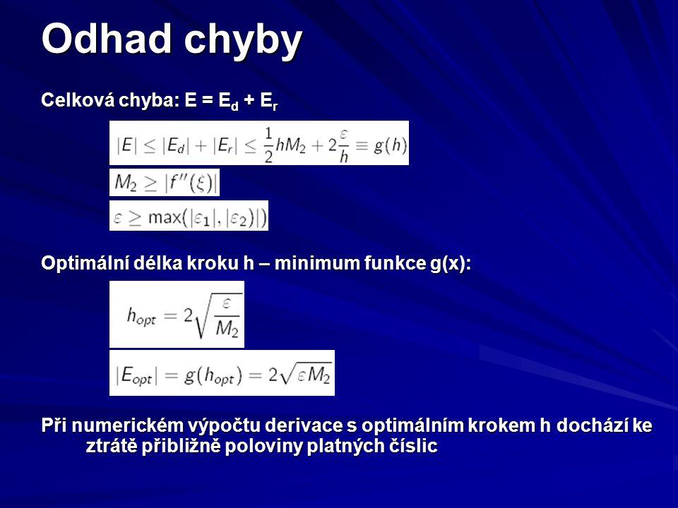 Odhad chyby Celková chyba: E = E d + E r Optimální délka kroku h – minimum funkce g(x): Při numerickém výpočtu derivace s optimálním krokem h dochází